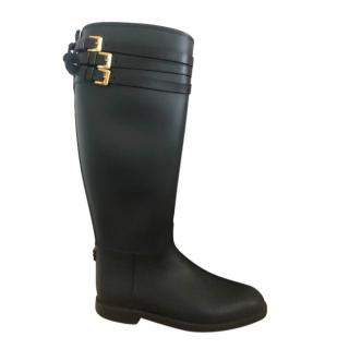 Burberry Black Leather Trimmed Rubber Rain Boots