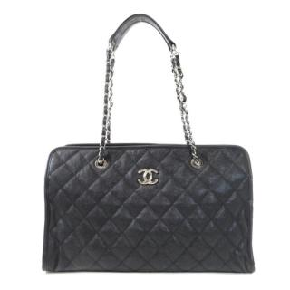Chanel Black Quilted Grained Calfskin Shopper