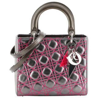 Dior Grey/Fuchsia Anselm Reyle Lady Dior Tote Bag