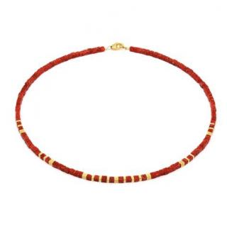 Bernd Wolf Gold Plated Sponge Coral Necklace in Red