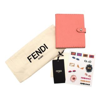 Fendi Selleria Pink Grained Leather Diary with Stickers