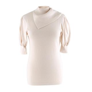 Zimmermann Ivory Cashmere Blend Knit Sweater with Scarf Panel