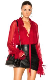 Redemption Red Silk Chiffon Blouse