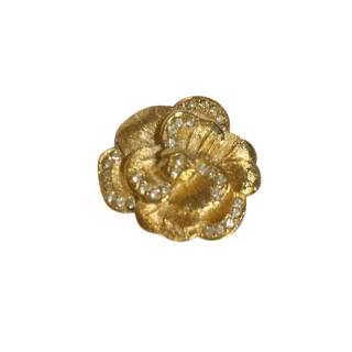 Christian Dior Vintage Gold Tone Crystal Flower Brooch
