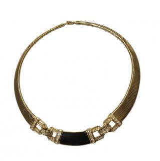 Christian Dior Vintage Enamel & Crystal Collar Necklace