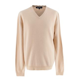 Aquascutum Beige Cashmere V Neck Long Sleeve Sweater
