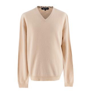 Aquascutum Beige Cashmere V Neck Long Sleeve Sweater