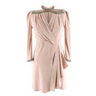 Jenny Packham blush crystal studded halter neck dress
