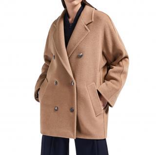 Max Mara Camel Wool Double Breasted Coat
