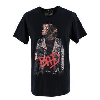 Domrebel Black Bad Crystal Embellished Monkey T-Shirt