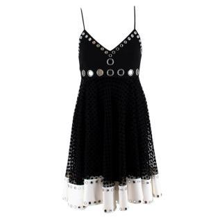 David Koma Black & White Tulle Polka Dot Mirrored Embellished Dress