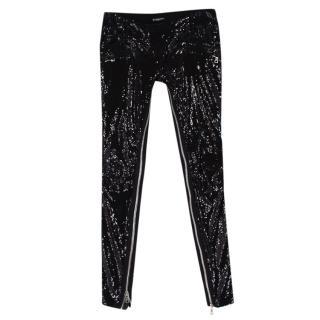 Balmain Black Sequin Skinny Fit Zipper Detail Trousers