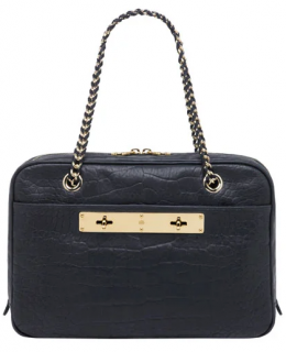 Mulberry Midnight Croc Embossed Carter Camera Bag
