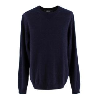 Esk Navy Wool & Cashmere Blend Round Neck Knit Sweater