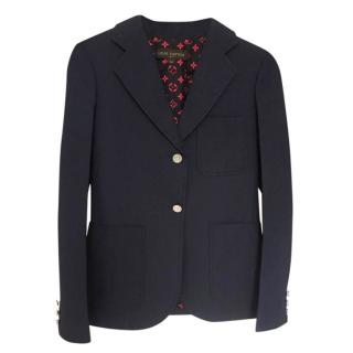 Louis Vuitton Navy Tailored Jacket with Monogram Lining