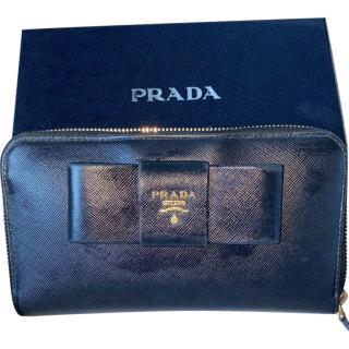 Prada Black Saffiano Leather Bow Detail Zip-Around Wallet