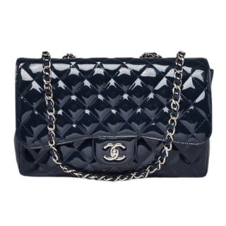 Chanel Navy Patent Leather Jumbo Flap Bag