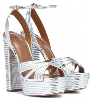 Aquazzura Silver Sundance 140 leather platform sandals