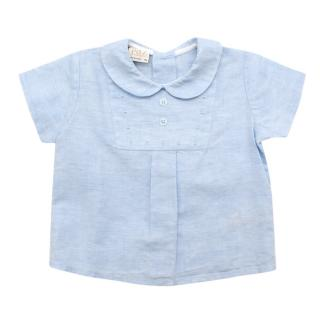 Paz Rodriguez Blue Cotton & Linen Short Sleeve Top