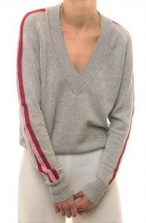 Valentine Witmeur Lab Grey Knit Side Stripe V-Neck Jumper