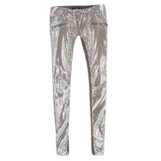 Balmain Silver Sequin Skinny Fit Zipper Detail Trousers