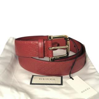 Gucci Red Micro Guccisima Leather Belt