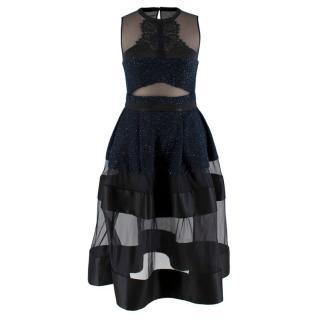 Three Floor Navy & Black Metallic Tweed Mesh Tiered Dress