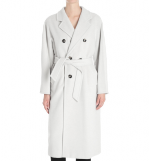 Max Mara White Wool, Silk & Cashmere Wrap Coat