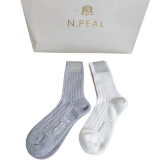 N.peal Ivory & Grey Cashmere Socks
