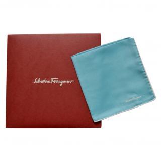 Salvatore Ferragamo Turquoise Silk Scarf