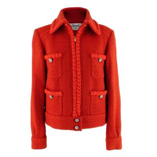 Chanel Red Wool Tweed Braided Trim Jacket with Crystal Buttons