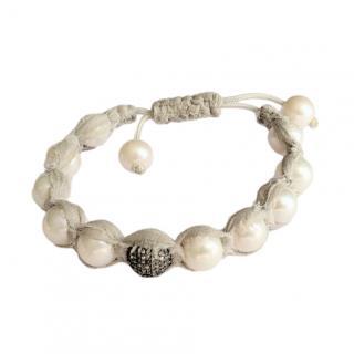 Samira 13 Chiffon Pearl & Black Diamond Beaded Bracelet
