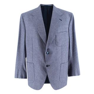 Donato Liguori Blue Pied de Poule Cashmere Blend Tailored Si