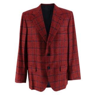 Donato Liguori Red Checkered Cashmere Blend Tailored Jacket