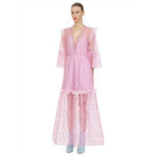 Self Portrait Pink Tear Drop Mesh Maxi Dress