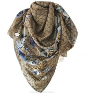 Gucci Monogram Blooms Blue Wool Scarf
