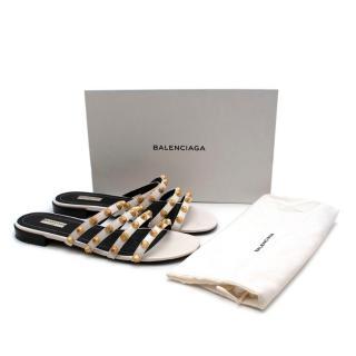 Balenciaga White Leather Studded Slides