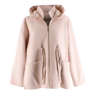 Moncler Pink Wool & Cashmere Oversized Hooded Jacket