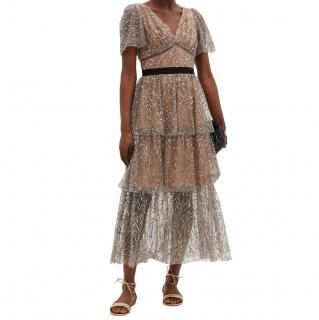 Self-Portrait Silver Sequined Tulle Midi Dress