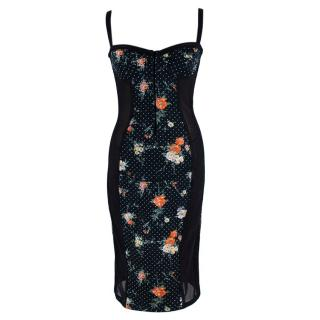 D&G Black Spotted Floral Print Corset Dress