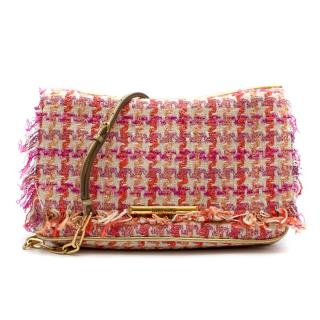 Miu Miu Pink Houndstooth Tweed Shoulder Bag