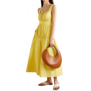 Self Portrait Bright Yellow Cotton Poplin Sleeveless Midi Dress