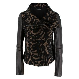 DVF Black And Brown Jacquard Leather Trimmed Jacket