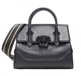 Versace Black Leather Palazzo Empire Medusa Top Handle Bag