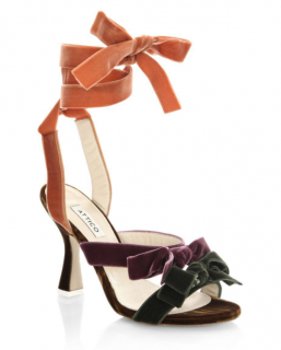 The Attico Velvet Bow Ankle-strap Sandals