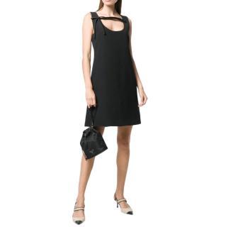 Prada Black Sleeveless Mini Dress with Bow