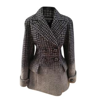 Chanel Houndstooth Ombre Wool Blend Coat