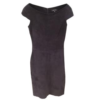 Jitrois Navy Stretch Suede Fitted Dress