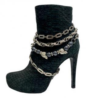 Phillipp Plein Chain Draped Grey Python Boots