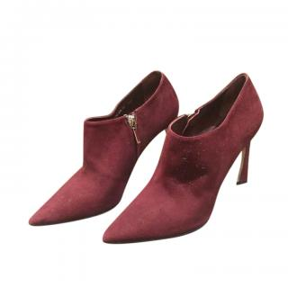 Dior Burgundy Suede Ankle Boots